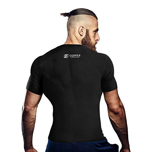 Copper Compression Short Sleeve Men's Recovery T Shirt. Highest Copper Content Guaranteed. Support Sore & Stiff Muscles & Joints. Best Compression Fit T-Shirt Running, Basketball, Sports Wear (Large) by Copper Compression (Image #4)