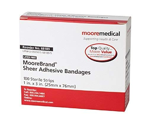 MooreBrand Sheer Plastic Adhesive Bandages, 1 x 3 Inch - Case of 1500