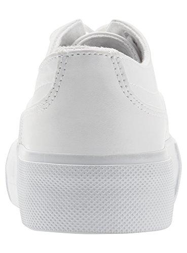 Ultra oodji Donna con Sintetica in Bianco Alta Pelle Sneakers 1000n Suola Rdadqpw