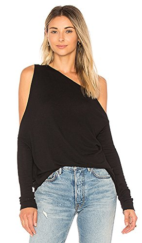 MOMEPE Woemn Sexy One Shoulder Long Sleeve Plus Size T Shirt Tunic Tee Black XL by MOMEPE