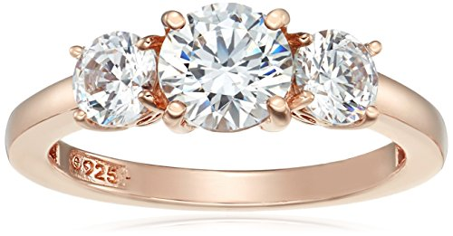 Rose-Gold-Plated Sterling Silver Round 3-Stone Ring made with Swarovski Zirconia (2 cttw), Size 7