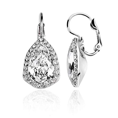 ASHE Leverback Earrings Tear-Drop for Women Wife Girlfriend Bridal Wedding Anniversary Valentine's Day Mother's Day Bithday Gift Made with Swarovski
