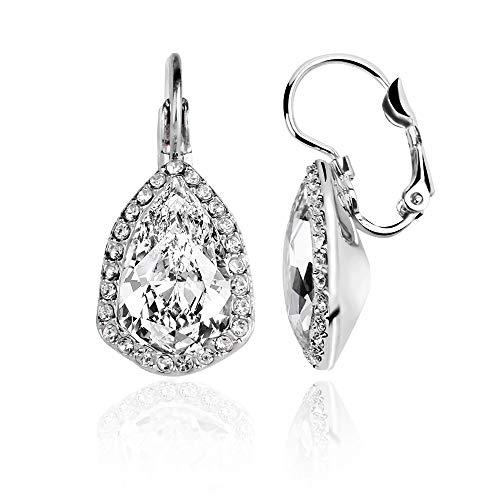ASHE Leverback Earrings Tear-Drop for Women Wife Girlfriend Bridal Wedding Anniversary Valentine