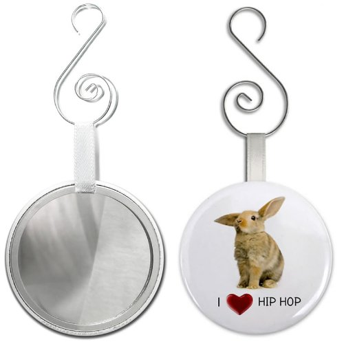 I HEART HIP HOP Easter Bunny 2.25 inch Glass Mirror Backed Ornament