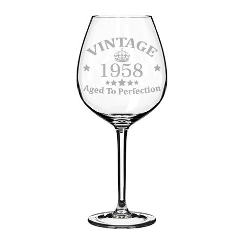 Wine Glass Goblet 60th Birthday Vintage Aged To Perfection 1958 (20 oz Jumbo)
