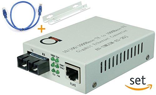 Single Mode Gigabit Fiber Media Converter - Built-In Fiber Module 20 km (12.42 miles) SC – to UTP Cat5e Cat6 10/100/1000 RJ-45 – Auto Sensing Gigabit or Fast Ethernet Speed - Jumbo Frame - LLF Support by ADnet