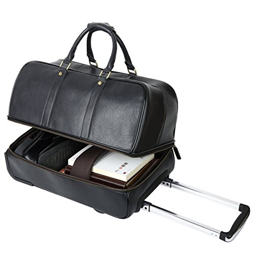 Leathario Men's Leather Luggage Wheeled Duffle, Leather Travel Bag (Black) by Leathario