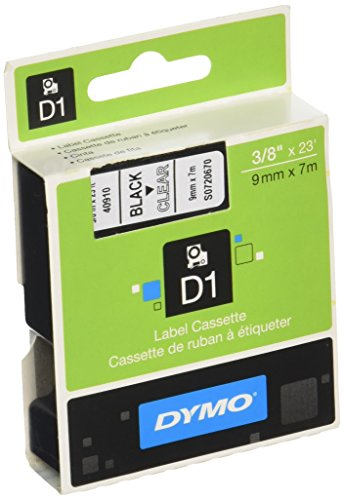 DYMO Standard D1 Labeling Tape for LabelManager Label Makers, Black print on Clear tape, 3/8'' W x 23' L, 1 cartridge ()