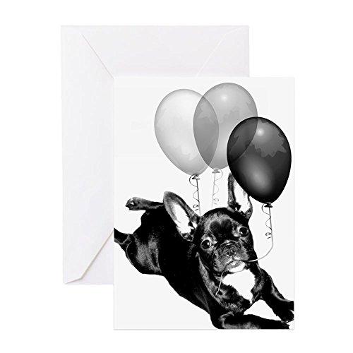 CafePress Happy Birthday French Bulldog Greeting Card, Note Card, Birthday Card, Blank Inside Glossy