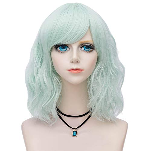 Probeauty Sweety Collection Lolita 40CM Short Curly Wig Fashion Women Cosplay Wigs + Wig Cap (Mint Green -