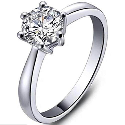 (925 Sterling Silver 1.0 Carat Classical Simple Plain Solitaire Wedding Engagement Propose Ring (11))
