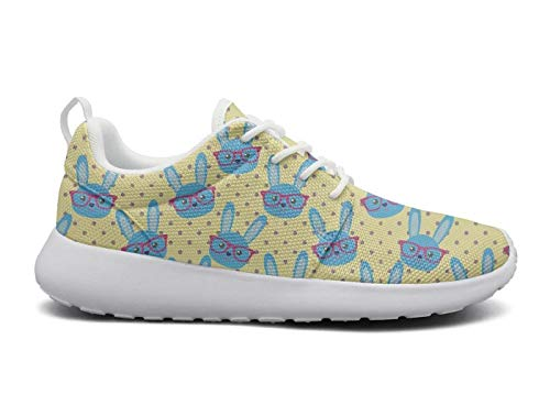 Womens Ultra Lightweight Breathable Mesh Athleisure Sneakers Cute Blue Bunny with Glasses Yellow Fashion Walking Shoes -