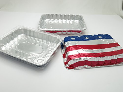 Disposable Aluminum American Flag Cake Pans w/ Clear Dome Lids 13'' x 9'' x 2'' (100 Pans and 100 Lids) by Handi-Foil USA (Image #2)