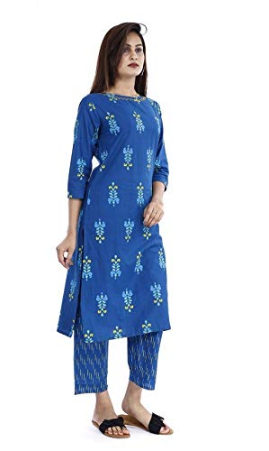 KANSHI Women's Cotton Printed Palazzo Set Full Sleeve Knee Length Used as Casual Wear & Office Dress