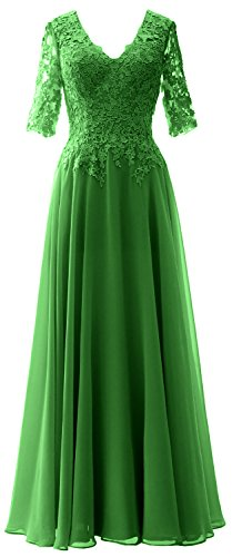 Neck of Bride Sleeves V Gown Evening Women Green Mother Formal MACloth Half Dress ExwAqOfxz