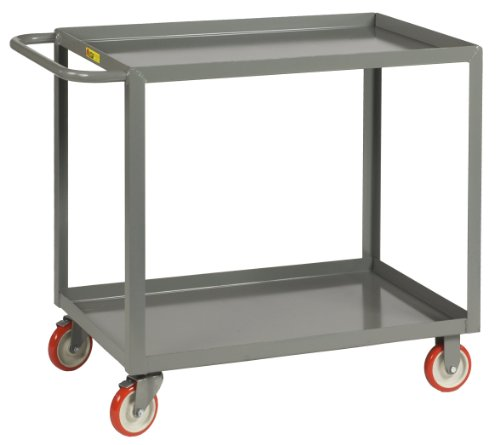 Little Giant LGL-2436-BRK Welded Steel Service Cart with Lip Shelf and Wheel Brakes, 2 Shelves, Gray, 1200 lbs Load Capacity, 35