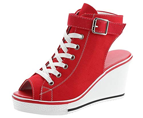 (Women Wedge Sandals Peep Toe High Heeled Wide Width Slingback Summer Canvas Sneakers (US 8, Red))
