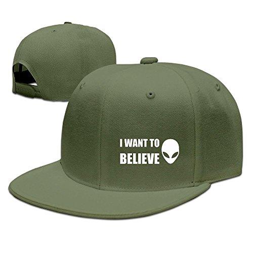NUBIA I Want To Believe Custom Running Hat Adjustable Flat Bill Hat ForestGreen