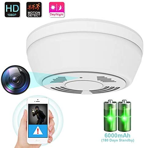 1080P Hidden Camera Smoke Detector, WiFi Camera with 180 Days Battery Power, Motion Activated Security Camera with Night Vision, Nanny Camera for Home Security Video Only