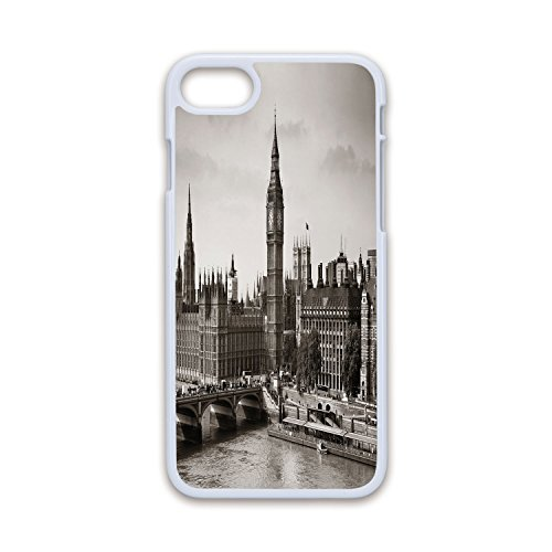 Phone Case Compatible with iPhone7 iPhone8 White Soft Edges 2D Print,London,Westminster with Big Ben and Bridge Nostalgic Image British Antique Architecture Decorative,Sepia White,Hard Plastic Ph