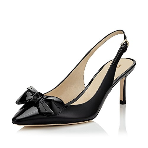 XYD Women Slingback Mid Kitten Heel Pumps Pointed Toe Buckles Dress Shoes with Elegant Bows Size 12 Black