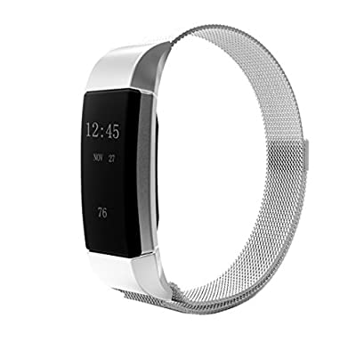 Fitbit Charge 2 Bands Metal, Elobeth Milanese Magnetic Loop Stainless Steel Watch Strap + Connector Metal Adapter for Fitbit Charge 2