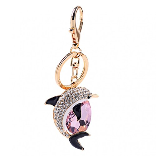 Acamifashion Lovely Dolphin Pendant Rhinestone Decor Hanging Keychain Ring Bag Decor Pendant (Pink) (Chain Dolphin)