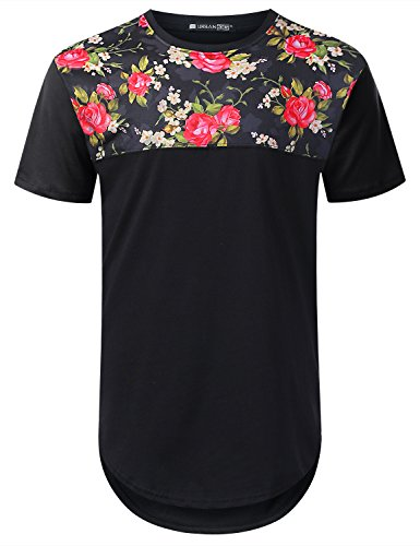 URBANTOPS Mens Hipster Hip Hop Rose Floral Panel Longline T-shirt BLACK, L