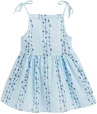 92bf9ec36a26 TiTCool Little Girls Beach Dress Sleeveless Adjustable Strap Floral Dress  Summer Clothes