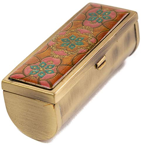 Boxed Travel Lipstick Case With Mirror (Brick Floral)