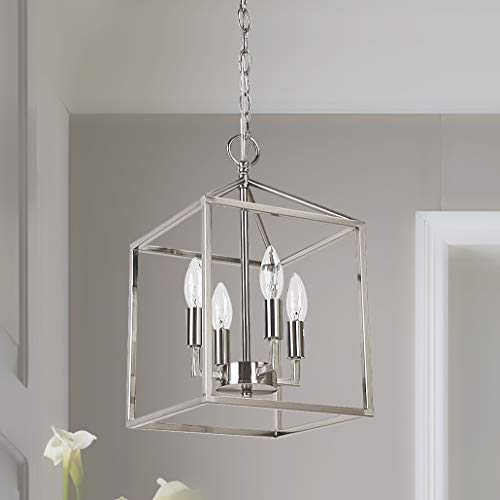 age Foyer Lantern, 4-Light Pendant Light, Nickel Finished [UL Listed] ()
