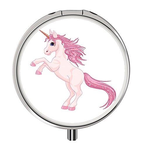 Custom Round Silver Pill Box, Portable Fashion Style, 3 Compartments Medicine Tablet Holder Organizer Case for Purse - Free Unicorn Clipart Kid 3 Purse Clipart