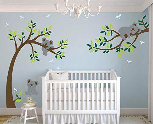 LHKSER Nursery Koala Tree Wall Stickers/ARGE Tree Cartoon Animals Koala Wall Decals/Children's Room Nursery Removable Vinyl Decals Mural Art Decoration (Brown Green)