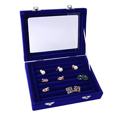 Mikash Jewelry Ring Organizer Tray Holder,Earring Storage Case Display Box Velvet Glass | Model JWRLBX - 814 |
