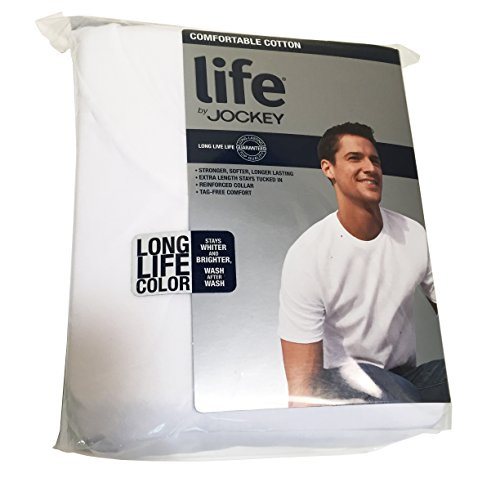 Life by Jockey 3-Pack Mens Premium Cotton T-Shirts - White 100% Cotton (Medium)