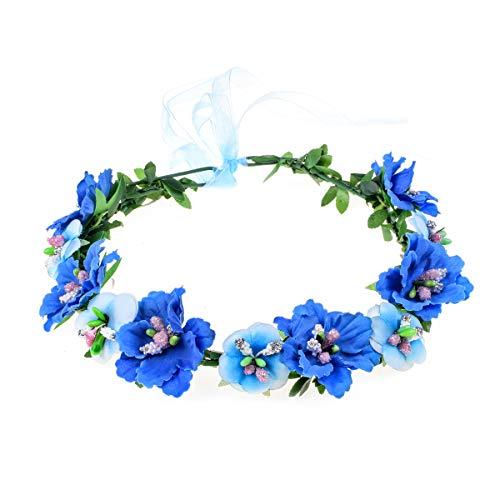 Love Sweety Girls Boho Rose Floral Crown Wreath Wedding Flower Headband Headpiece (A-Blue)