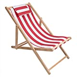 Folding Wood Canvas Deck Chairs YUNHAO Outdoor Beach Chair Folding Solid Wood Oxford Canvas Chair Recliner Chair Portable Lunch Break Wooden Lounge Chair A (Color : 3)