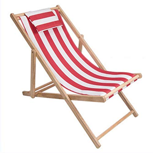 YUNHAO Outdoor Beach Chair Folding Solid Wood Oxford Canvas Chair Recliner Chair Portable Lunch Break Wooden Lounge Chair A (Color : 3)