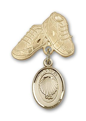 Finest Quality 14kt Gold Baby Child or Lapel Badge Saint St. Medal Pendant with Baptism Charm and Baby Boots Pin Brooch