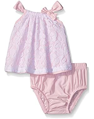 Baby Girls' Pink Top with Lace Overlay and Panty
