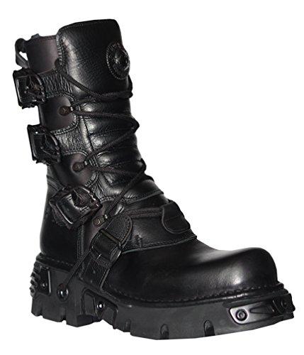 New Rock Unisex Black Leather Biker Metallic Reactor Boots - M.391-S18
