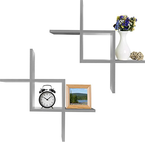 Greenco Criss Cross Intersecting Wall Mounted Floating Shelves Gray Finish, 2-Pack