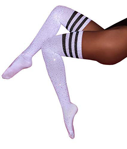 MISSGGBOND Womens Fashion Rhinestone Over the Knee High Stockings Sexy Triple Stripes Thigh High Socks (One Size, White/Black Stripe) ()