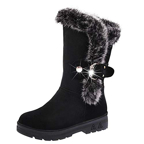 Creazrise Women's Faux Fur Buckle Winter Snow Boot Pull On Flat Ankle Boots (Wine,13)