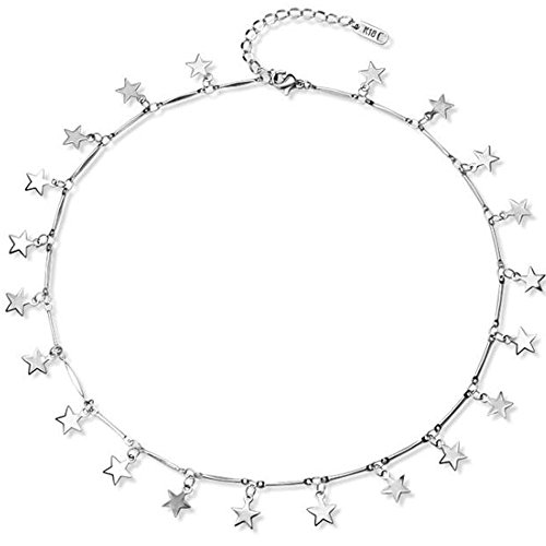 Jude Jewelers Stainless Steel Luck Stars Dainty Choker Necklace (Silver)