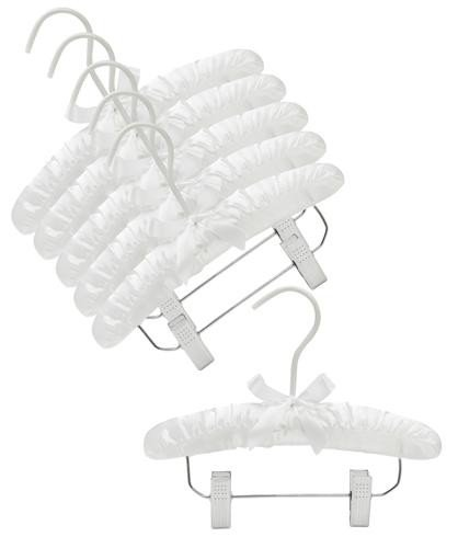 Only Hangers 10'' White Baby Satin Padded Hangers with Clips- Pack of (6) by Only Hangers