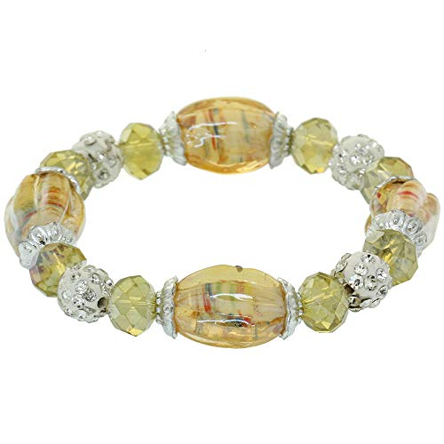 Coloured Glaze Pumpkin Stretch Cord Bracelet Faceted Crystal Spacer Beads Charm Bangle Cubic Zirconia Contractable Wristlet Rondelle Beads Elastic Rope Circlet Fashion Wristband For Women Girls Lady