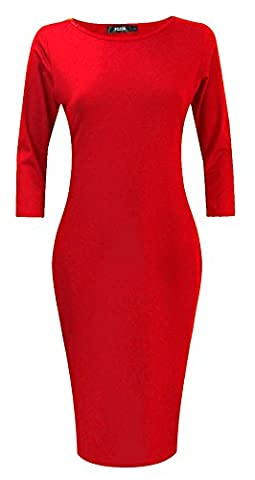 POZON Women's Knitting Long Sleeve Scoop Neck Midi Dress Red L (Midi Cotton Dress)