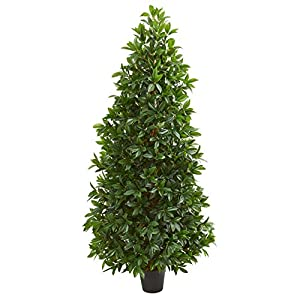 Nearly Natural 5546 5-Ft. Bay Leaf Cone Topiary Artificial UV Resistant (Indoor/Outdoor) Silk Trees Green 46
