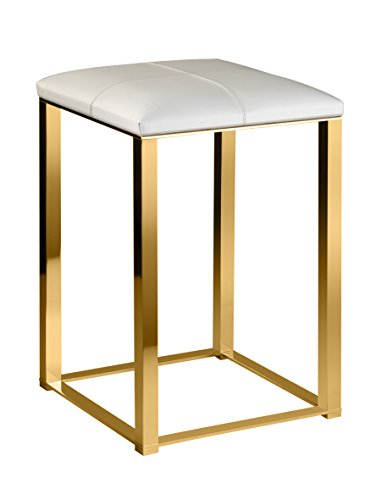 Backless Vanity Stool Bench Seat With Brass Metal Legs, Leather Seat (White-Gold) by W-Luxury (Image #1)